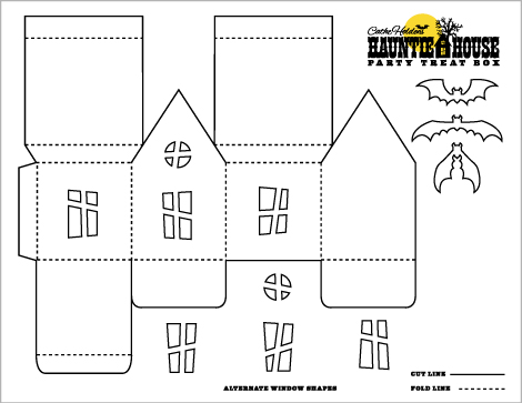 halloween crafts haunted house luminary  party treat box templates
