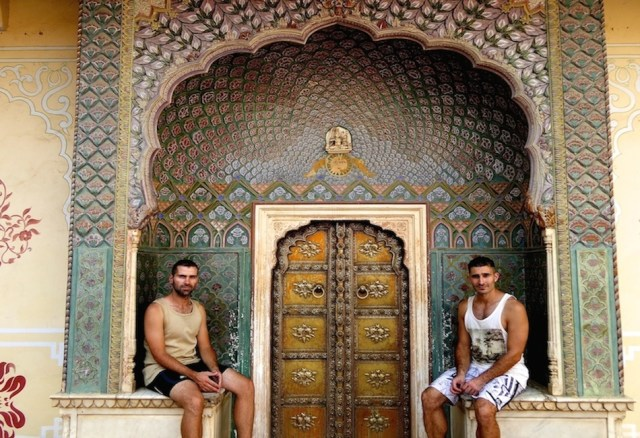 14 Do we look like brothers!! Posing at the City Palace of Jaipur, India, October 2014