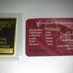 Gold Bar PG 100g with Certification