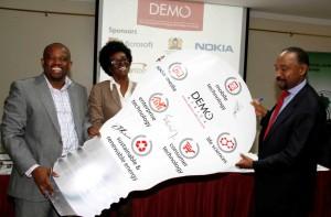 Harry Hare CEO CIO EastAfrica, Hana Kefela Project Manager DEMO Africa, Gabriel Negatu Africa Development Bank Resource Center EA Director DEMO Africa Sponsors
