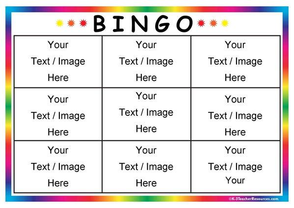 Editable Bingo Card Templates - blank bingo card template