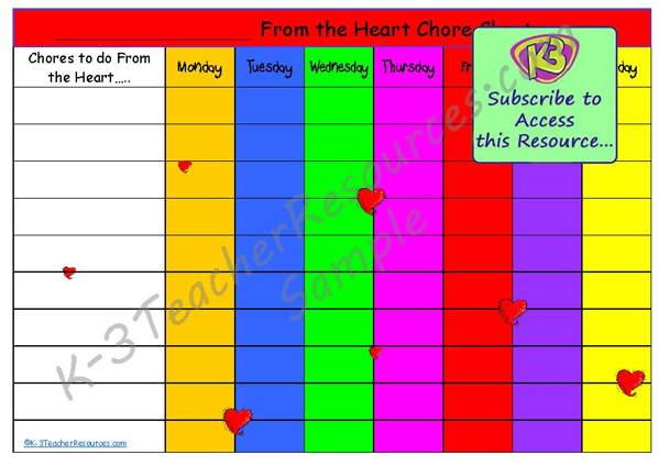 Printable Chore Chart - sample chore chart