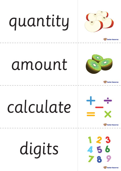 Maths Vocabulary Word Cards - K-3 Teacher Resources - vocab cards