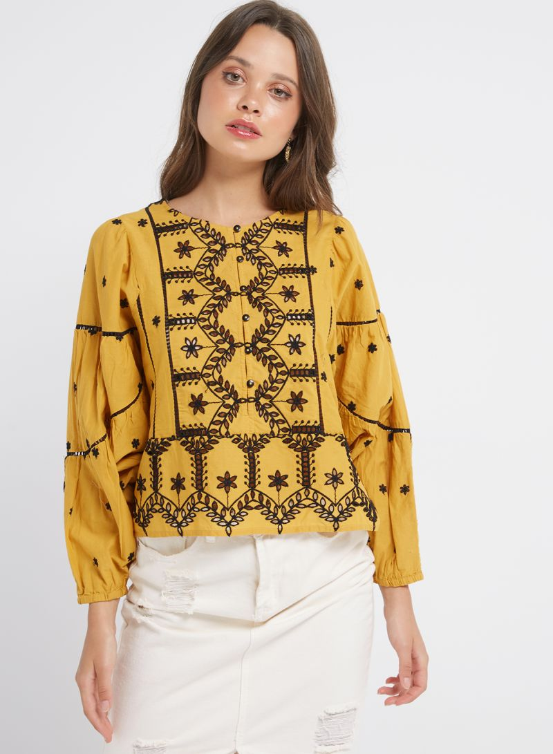 Sfera Online Shop Deutschland Shop Sfera Ethnic Embroidered Blouse Yellow Black Online In Egypt