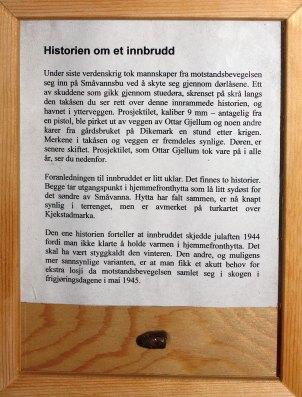 Plakett med historie og prosjektil