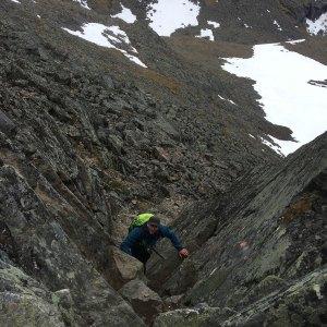 Helge Kaasin på vei opp. (Foto: Marianne Wahlstrøm)