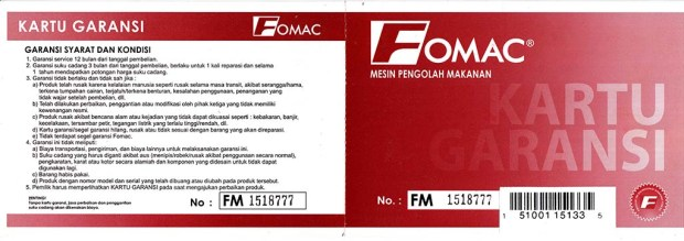 Kartu garansi penggiling kopi Fomac COG-HS600