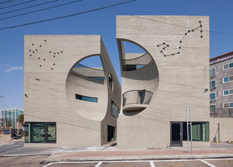 Twin house architectural designs with concrete texture seoul for Moon architecture