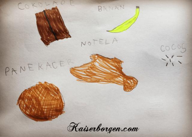 Pandekager, nutella, kokos, chokolade. Crêpes, Nutella, noix de coco, chocolat.
