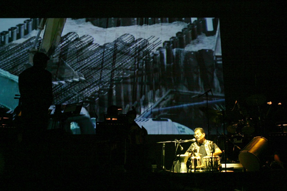 2008: The splendid Maniam on tabla - juxtaposed against a video of post-industrial Spore.