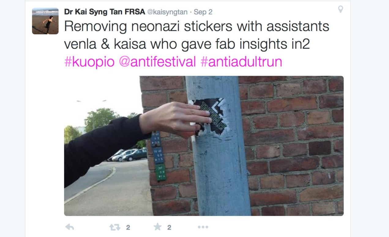 Anti authority (including fake ones): Side project of removing neo-nazi stickers in the streets of Kuopio.