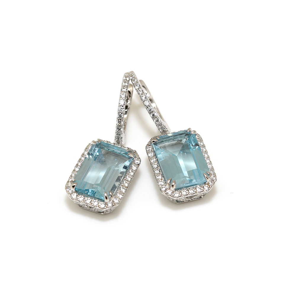 Art Deco Style Earrings Uk Blue Topaz Deco Earrings