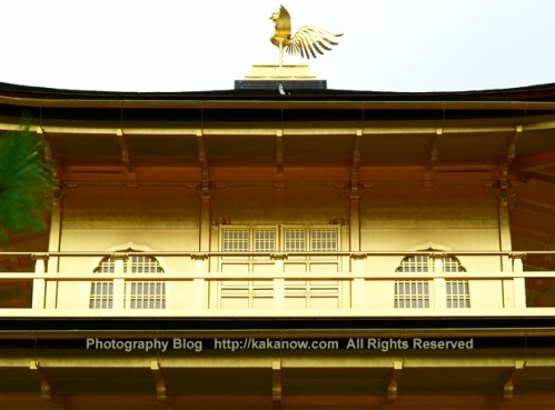 Kinkakuji be used gold leaf to decorative the building surface. Japan, Kyoto, summer vacation. Photo by KaKa.