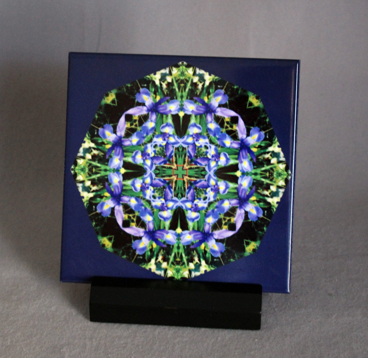 Credence Decorative Sale Special Iris Decorative Ceramic Tile Coaster Sacred Geometry Geometric Kaleidoscope Cerulean Credence