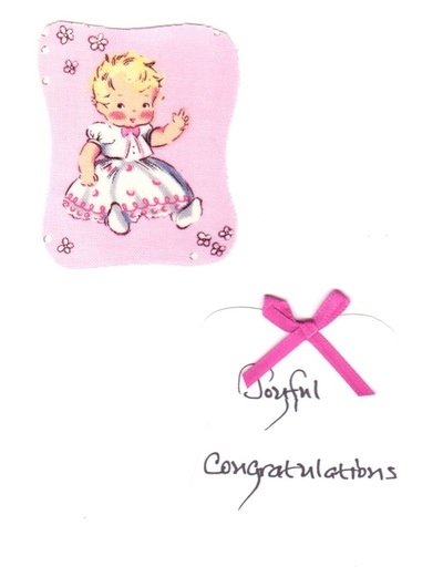 handmade congratulations card for the parent of a baby girl