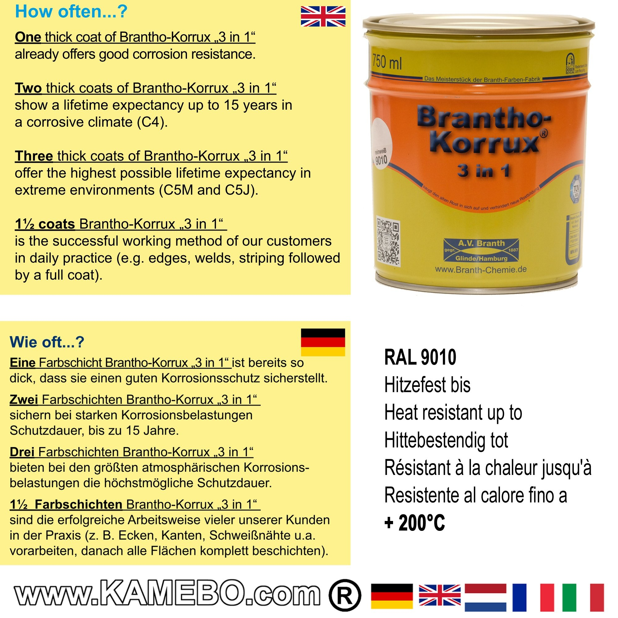 Colour Ral 9010 Brantho Korrux 3in1 Anti Rust Coating Ral 9010 Pure White 750 Ml