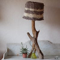 Lampe nature et abat-jour en tricot | Kameleon Factory
