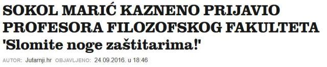 """Gostujući u sinoćnoj emisiji HRT-a Otvoreno, dekan Filozofskog fakulteta Vlatko Previšić rekao je da zaštitari na Fakultet uoči plenuma nisu dovedeni na preporuku policije, već zbog njegove osobne procjene. Govoreći o angažiranju osiguranja, između ostalog, naveo je da je na Facebooku jedan profesor napisao """"slomite noge zaštitarima""""."""