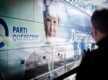 A Parti Québécois és Pauline Marois kormányfő-jelölt kampánybusza