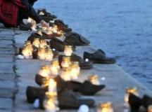 Cipők a Dunaparton...a magyar hatóságok által elkövetett mészárlásra emlékeztetnek.