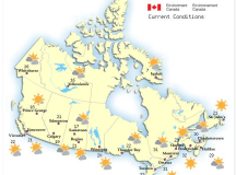 Időjárási viszonyok országszerte, 2015. augusztus 17-én, 15 órakor.