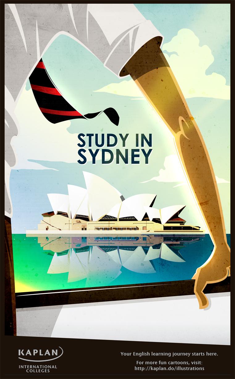 kaplan study in sydney vintage poster