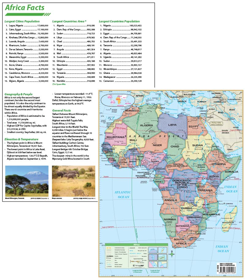 Africa Continent Map with facts \u2013 KAPPA MAP GROUP