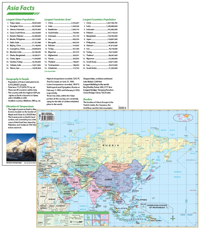 Asia Continent Map with facts \u2013 KAPPA MAP GROUP