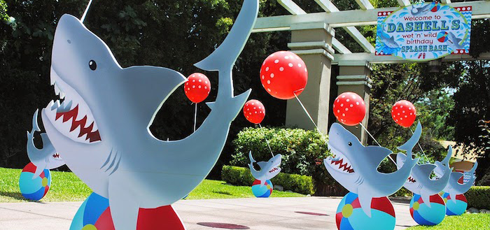 Kara39s Party Ideas Wet N Wild Shark Themed Birthday Party