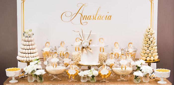 Kara39s Party Ideas Elegant Gold White Baptism Party