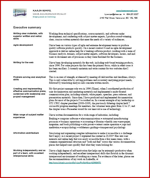 Resume writing executive summary