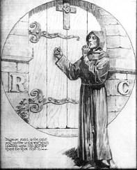 """Das Betreten der Rosenkreuzer-Mysterien. Der Kandidat macht ein Handzeichen der Geheimhaltung. Beachtet ebenfalls die Buchstaben """"RC"""" wie bei R.C. Christian."""