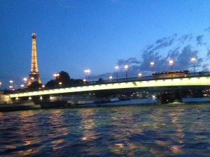 View from the riverboat at night