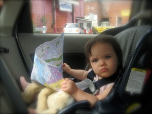 baby with a map