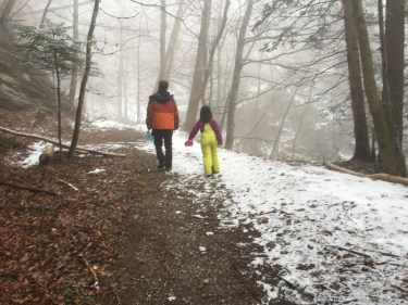 europe, trail, hiking, kid, father and daughter hiking, snow pants, winter hiking, woods