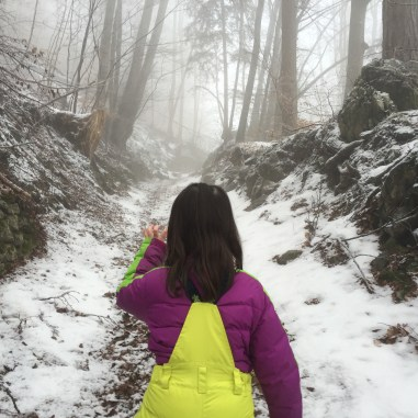 girl tracking animals, winter hiking, kid