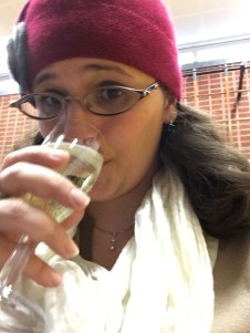 woman kari drinking champagne