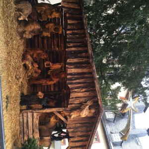 giant wooden nativity scene
