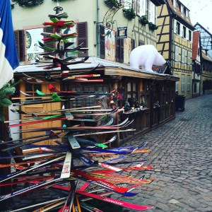 Okay, someone made this clever Christmas tree out of skis.