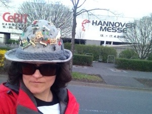 some guy's hat at hannover messe