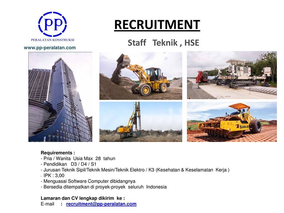 Lowongan kerja staf teknik & hse di pt pp peralatan konstruksi