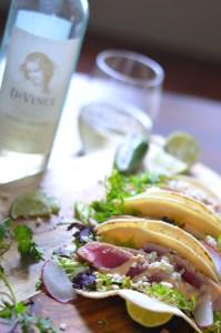 Seared Ahi Tuna Tacos with DaVinci Pinot Grigio vertical 3