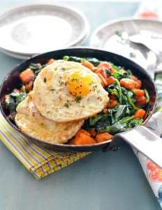 Sweet Potato Hash with Greens and Eggs 3