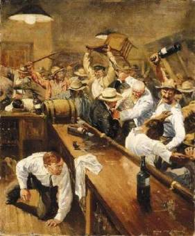 Painting of an old west bar fight