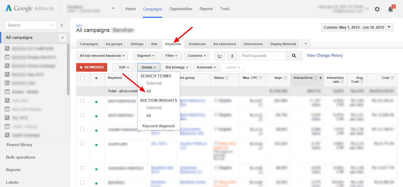 Google Adwords Keywords How To Identify Negative Keywords Through Search Terms Report In