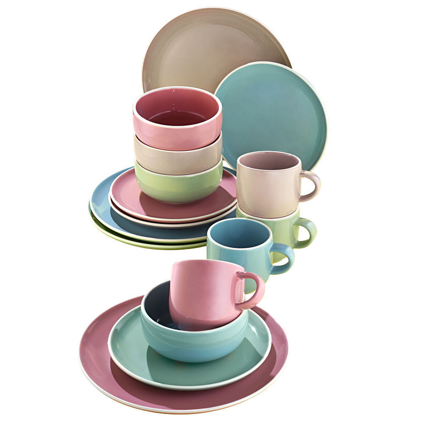 Geschirr Set Pastell Creatable Kombi Set Chicago Pastell 16 Tlg Karstadt