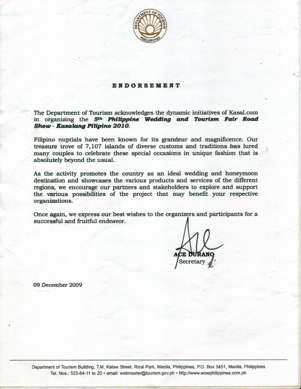 Department of Tourism Endorsement Letter Kasalang Filipino - The