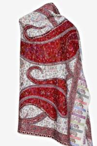 cream with red ambi kani shawl | Accessories | saffron