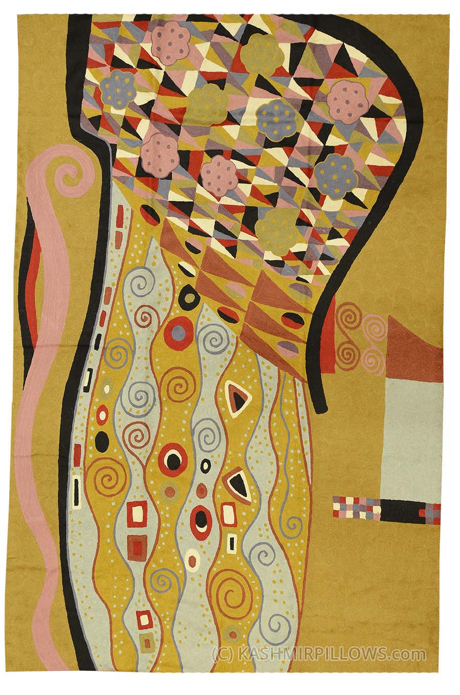 Art Nouveau Yellow Klimt Modern Mustard Wool Rug Wall Tapestry Art Nouveau Hand Embroidered 6ft X 4ft