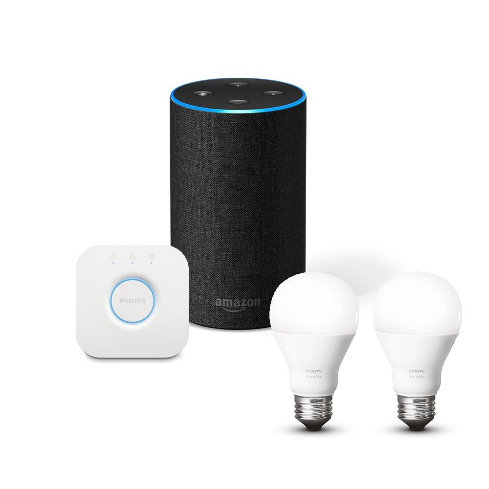 Philips Hue Starter Kit E27 Amazon Echo 2nd Gen Philips Hue White Lighting Starter Kit